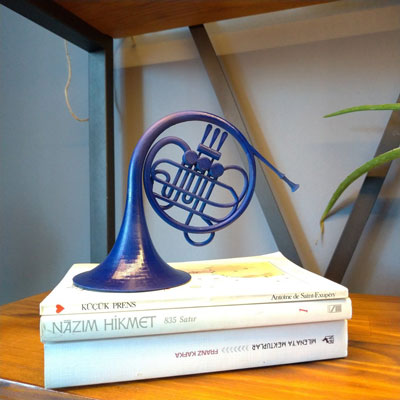 Decorative Blue French Horn
