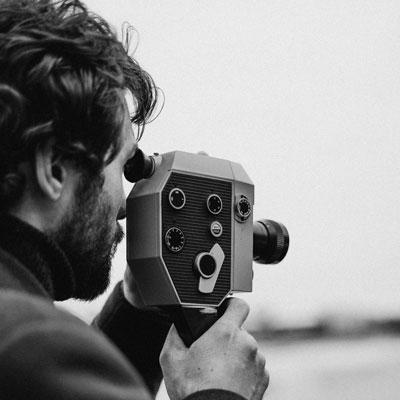 a filmmaker with a camera