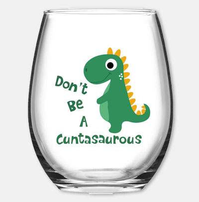 Funny Dinosaur Themed Wine Glass