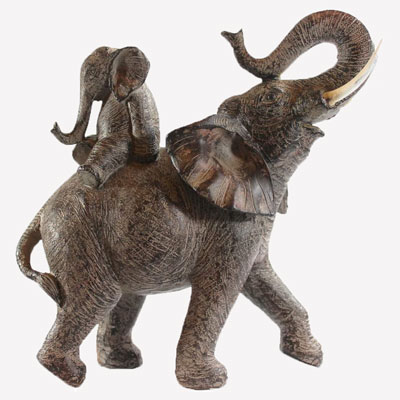 Mother and Baby Elephant Carved Sculpture