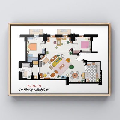 Ted's Apartment Floor Plan Poster