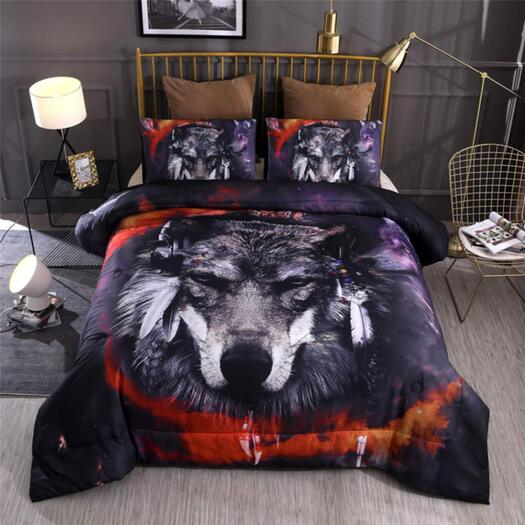 Wolf Printed Bed Set