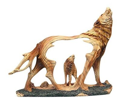 Wood Wolf Figurine