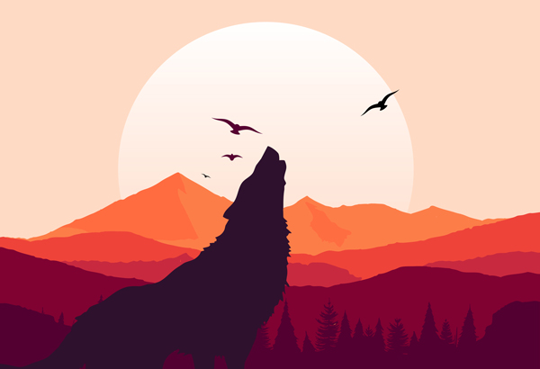 graphic of a wolf howling